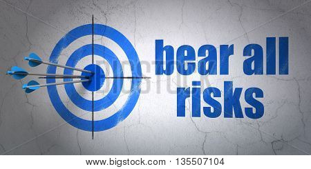 Success Insurance concept: arrows hitting the center of target, Blue Bear All Risks on wall background, 3D rendering