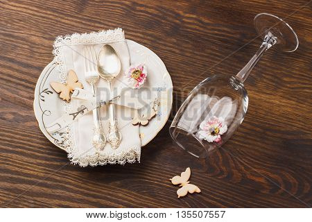 Silverware On The Wooden Background