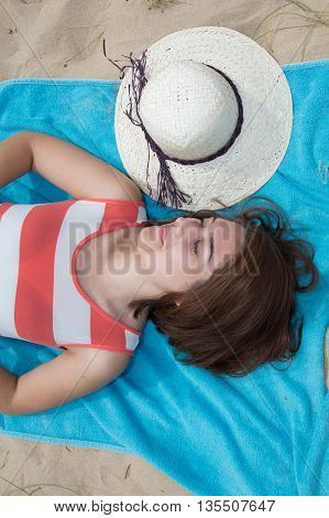 Flat Lay, Woman With Hat Beach Sand In Summer