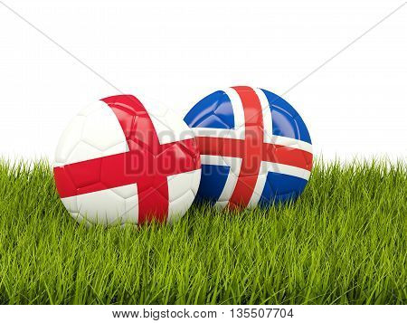Iceland And England Soccer Balls On Grass