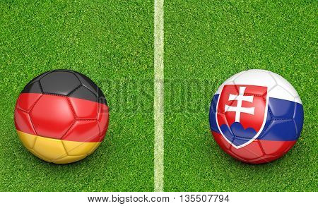 Team balls for Germany vs Slovakia football tournament match, 3D rendering