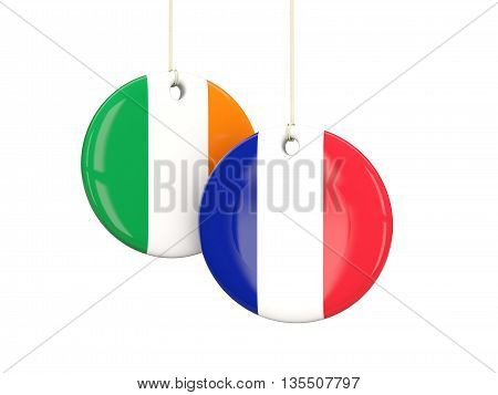 France And Ireland Soccer Teams Round Labels