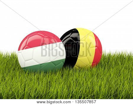 Hungary And Belgium Soccer Balls On Grass