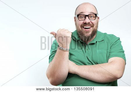 Laughing Man Shows His Finger To The Side..