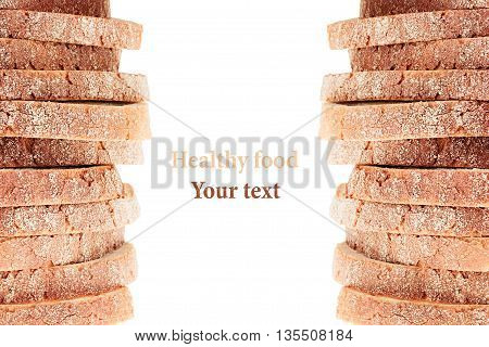Pile of slices of white bread with a crispy crust on a white background. Decorative ending border. Isolated. Concept art. Food background.