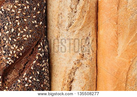 Bread of different varieties view from above. Rye wheat and whole grain bread. Macro. Texture. Food background.