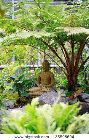 Buddha Statue Sitting In Garden.