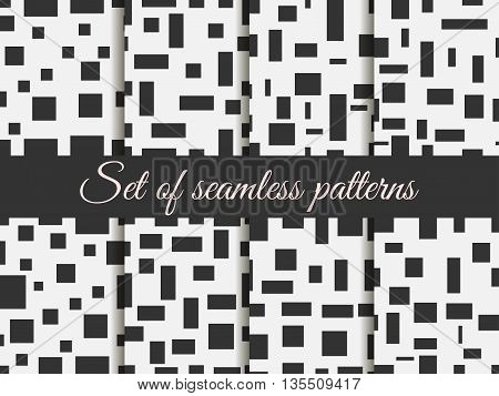 Seamless Pattern With Squares And Rectangles. Pattern With Squares And Rectangles. Monochrome Colour