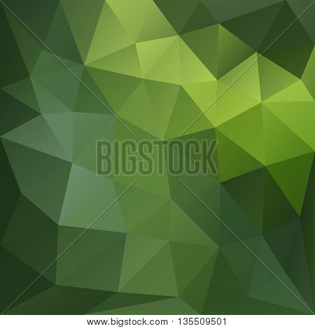 Vector background with geometric shapes in green colors. Triangle mosaic background. Polygonal design.
