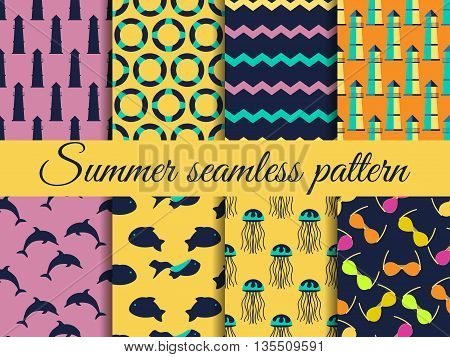 Summer Seamless Pattern. Pattern With A Lighthouse, Marine Fauna. Set Of Seamless Patterns, Vector.