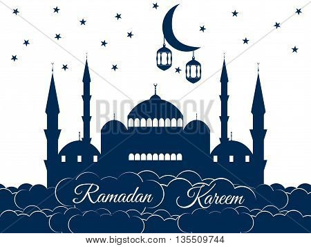 Mosque In The Clouds. Ramadan Kareem, Blue Mosque, Minaret, Lantern And Moon, Muslim Holiday Lights.
