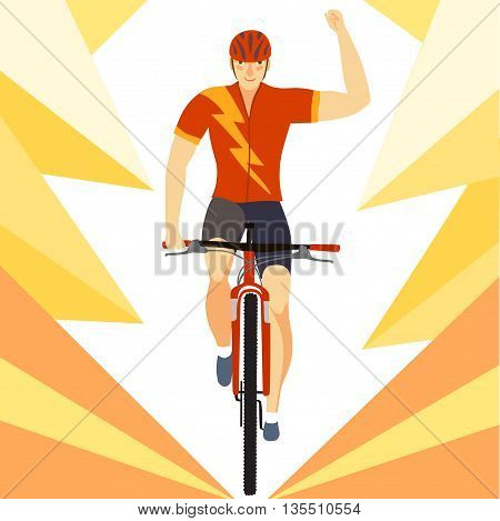 Racing cyclist in action.Winner mountain biker on decorative dynamic background. Editable vector illustration.