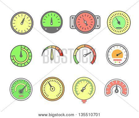 Vector line meter icon set. speedometers, manometers, Circular gauges