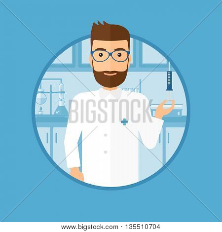 Laboratory assistant holding syringe. Laboratory assistant with syringe in a laboratory. Laboratory assistant making medical test. Vector flat design illustration in the circle isolated on background.