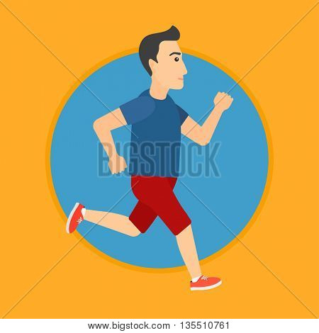 Young man running. Male runner jogging. Full length of a male athlete running. Sportsman in sportswear running. Vector flat design illustration in the circle isolated on background.