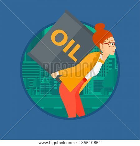 A woman carrying an oil barrel on her back. Woman with oil barrel walking on a city background. Woman with oil barrel on her back. Vector flat design illustration in the circle isolated on background.