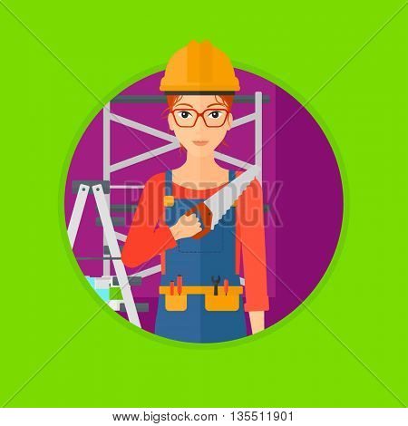 A female worker holding a saw in hand. A young woman in overalls and hard hat with saw in apartment. Vector flat design illustration in the circle isolated on background.
