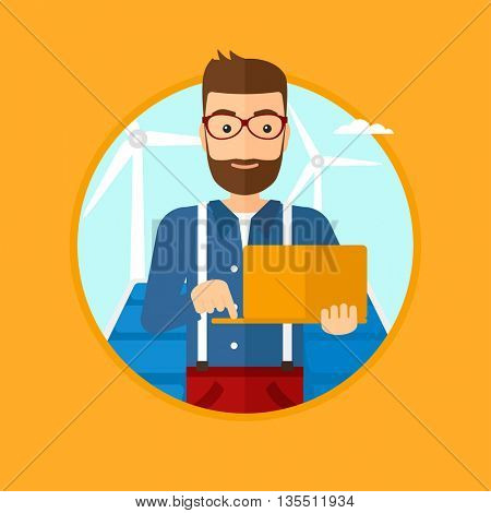 A hipster worker of solar power plant and wind farm. Man with laptop on a background of solar power plant and wind turbines. Vector flat design illustration in the circle isolated on background.