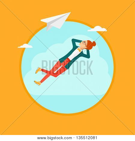 A business woman lying on a cloud and looking at flying paper plane. Business woman relaxing on a cloud. Vector flat design illustration in the circle isolated on background.