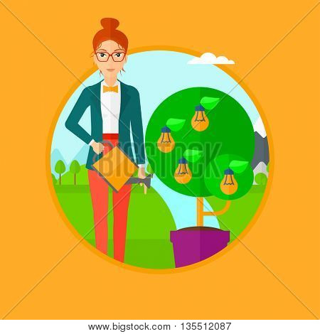 Woman watering tree in pot. Woman watering tree with light bulbs instead leaves. Woman pouring water on tree with lightbulbs. Vector flat design illustration in the circle isolated on background.