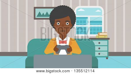 A tired african-american woman sitting on a sofa with gamepad in hands on the background of living room vector flat design illustration. Horizontal layout.