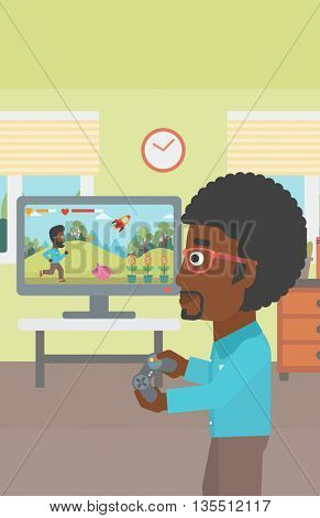 An african-american woman sitting on the couch in living room and watching tv vector flat design illustration. Vertical layout.