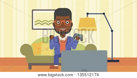 An african-american man with gamepad in hands sitting on a sofa in living room vector flat design illustration. Horizontal layout.