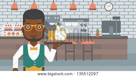 An african-american waiter carrying a tray with like button on a cafe background vector flat design illustration. Horizontal layout.