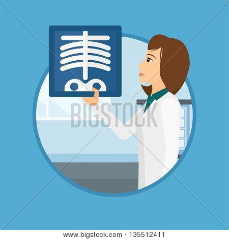 Doctor examining a radiograph. Doctor looking at a chest radiograph in the medical office. Doctor observing a skeleton radiograph. Vector flat design illustration in the circle isolated on background.