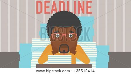 A stressed african-american man sitting at the table with stacks of papers and having problem with deadline vector flat design illustration. Horizontal layout.