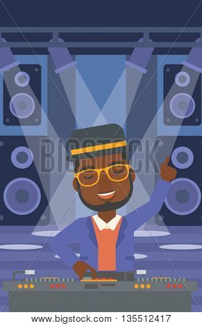 An african-american man in eadphones with hand up playing music on turntable on the background of night club vector flat design illustration. Vertical layout.