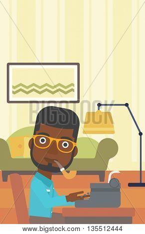 An african-american reporter writing an article on typewriter and smoking pipe on the background of living room vector flat design illustration. Vertical layout.