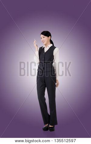 confident asian business woman, full length portrait