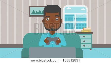 A tired african-american man sitting on a sofa with gamepad in hands on the background of living room vector flat design illustration. Horizontal layout.