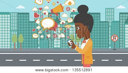 An african-american woman using smartphone with lots of social media application icons flying out on a city background vector flat design illustration. Horizontal layout.
