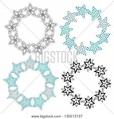 Stars frame isolated decoration set. Sketchy hand drawn vector illustration.