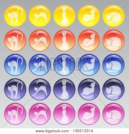 Set of glass icons of different colors with cats. Vector illustration