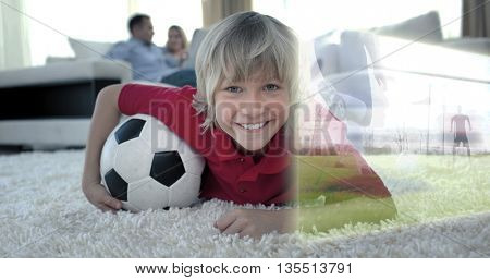 Composite image of cute soccer fan is watching soccer match on television at home