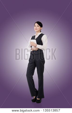 confident asian business woman, full length portrait