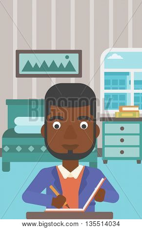 An african-american man sitting at the table and writing an article in writing-pad on the background of bedroom vector flat design illustration. Vertical layout.