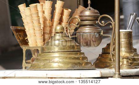 Ice Cream Cones In The Ice Cream Cart In Antique Style