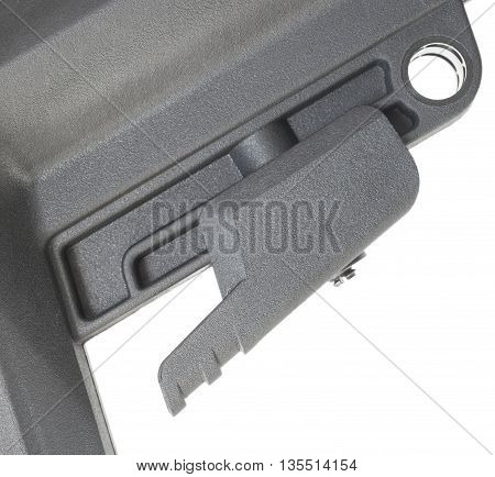 Lever on a rifle stock used to adjust length of pull
