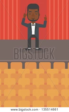 An african-american man directing with his baton on the stage vector flat design illustration. Vertical layout.