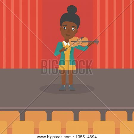 An african-american woman playing violin on the stage vector flat design illustration. Square layout.