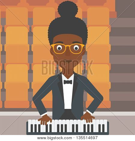 An african-american woman playing piano on the background of empty theater seats vector flat design illustration. Square layout.