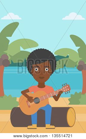 An african-american woman sitting on a log and playing a guitar on the background of tropical beach with palm trees and the sea vector flat design illustration. Vertical layout.