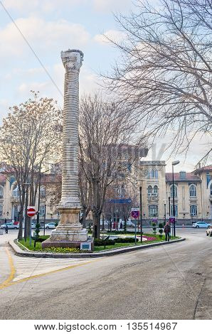 ANKARA TURKEY - JANUARY 16 2015: The Column of Julian is the part of the ancient remains of the Roman period on January 16 in Ankara.