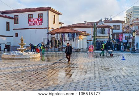 ANKARA TURKEY - JANUARY 16 2015: The modern houses of Ulus district the popular tourist area with traditional bazaar teahouses cafes and souvenir shops on January 16 in Ankara.
