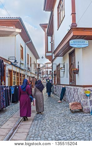 ANKARA TURKEY - JANUARY 16 2015: The narrow market street in renovated neighborhood of Ulus district on January 16 in Ankara.