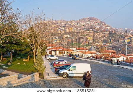 The view on the old city hill covered with the tiny houses and slums Ankara Turkey.
